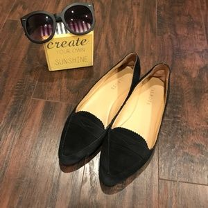 Talbots | black pointed toe suede loafers